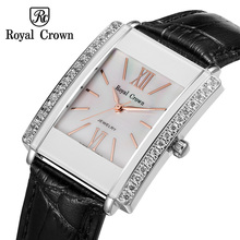 Royal Crown Luxury Jewelry Lady Women's Watch Fashion Hours Colorful Clock Leather Bracelet Rhinestone Girl Birthday Gift Box