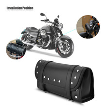 Motorcycle Bag Black PU Leather Motorcycle Motorbike Front Rear Fork Tool Bag Handlebar Bags Luggage Saddlebag Car-Styling(China)