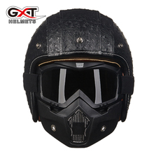 GXT vintage motorcycle helmets 3/4 open face Retro Leather helmet de motocicleta jet pilot moto helmets(China)