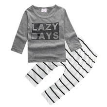 Boys Outfits Household Clothing 2pcs/set Personalized Alphabet Printing Gray Long Sleeve T-shirt+Striped Pants(China)