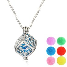 DIY Brand New Jewelry Square Hollow Out Geometric Pattern Fragrance Essential Oil Aromatherapy Diffuser Locket Necklace Pendant