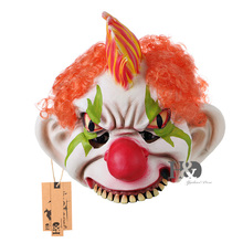 H&D Half Face Scary Clown Mask Wide Smile Orange Hair Evil Adult Creepy Halloween Costume