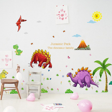 [Fundecor] cartoon dinosaur paradise children wall stickers for kids rooms nursery baby bedroom home decoraton decals animals
