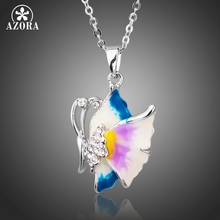 AZORA New Arrival Oil Painting Pattern Clear Austria Rhinestone Butterfly White Gold Color Pendant Necklace TN0184