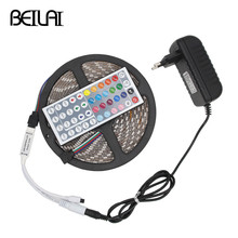 SMD 5050 DC12V Waterproof 300LEDs 5M Fita De LED Strip Light Tiras RGB LED Tape Flexible Neon Bar Ribbon add 3A Power and 44Key(China)