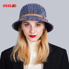 0926XB Fashion Winter Wool Women Fedora Hat For Elegant Lady Trilby Church Hat Male Derby Cloche Chapeau Femme Top Cap XB-D628(China)