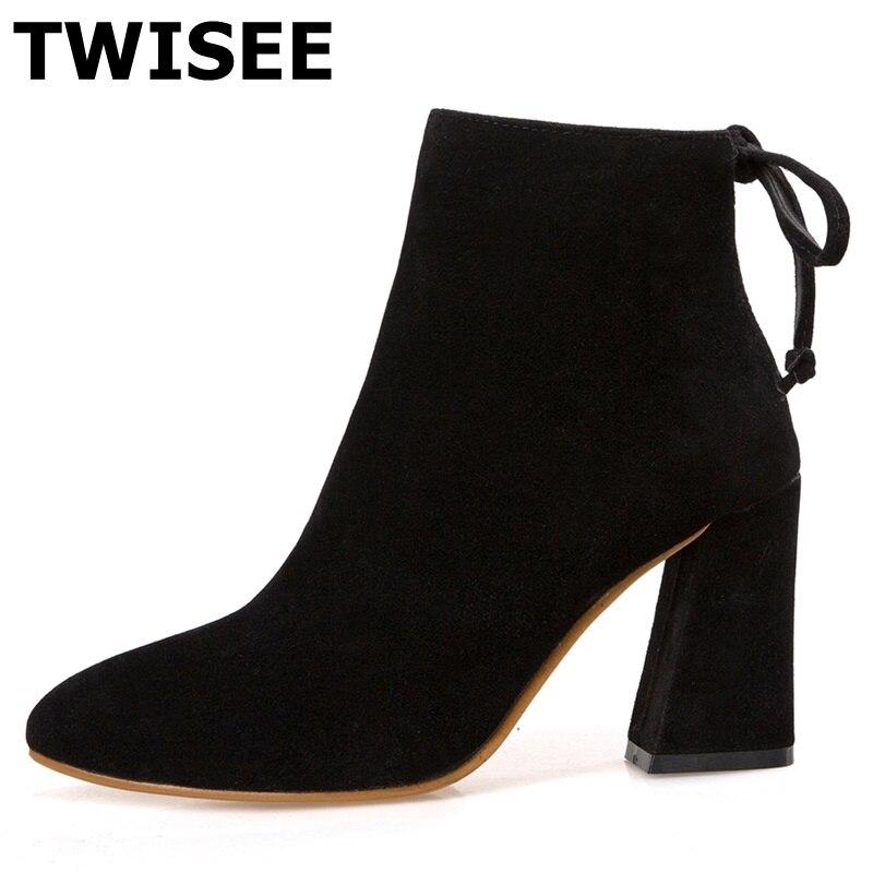 TWISEE Winter Warm  Zip Flock women Boots black gray brown Color WaterLadies Boots Pointed Toe Hoof Heels 8.5cm Ankle Boots<br>