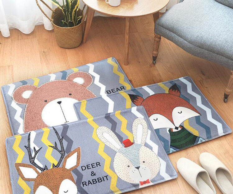 Kitchen Printed Animal Mats Fox Bear Home Pattern Fashion Cute p4w8nq
