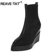 REAVE CAT Fashion leather boots New arrival Autumn Women's Shoes Boots Wedges Pointed toe Women's ankle boots Increased QA4045