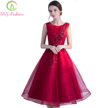 SSYFashion 2017 Summer New Evening Dress The Bride Banquet Elegant Wine Red Lace Flower Sleeveless Tea-length Party Formal Gowns(China)