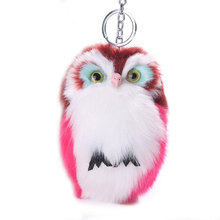 Buy 15CM Keyring Fluffy Plush Cute Owl Pendant Keys Ring Metal Chain Faux Rabbit Fur Handbag Keychain Gift Women Gifls M869 for $2.26 in AliExpress store