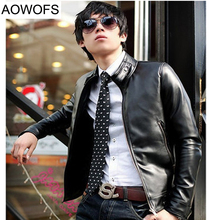 Motorcycle Jacket Men 2017 Autumn Leather Korean Slim Mens Leather Jacket Solid Color Biker Jacket Men 2 Colors