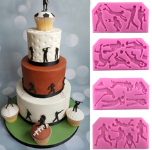 Sports Cake Fondant Silicone Mold 11*5.5*0.5CM Golf Baseball Basket Ball Football birthday cake decoration Chocolate Mold E332(China)