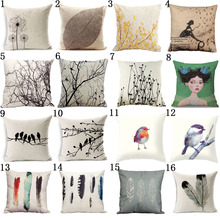 Modern Simple Plant Decorative Pillow Case Chair Waist Square 45x45cm Cotton Linen Pillow Cover Home Textile Living