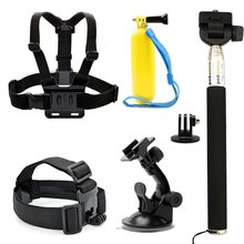 7-1 Accessories Kit for Gopro Hero ANART Sports Camera - Head Strap Chest Belt Handle Monopod Folating Mount & Auto Suction Cup