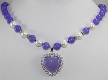 never-out-of -date purple jades dotted with white pearl & purple  heart-shape jades pendant necklace for valentine's day