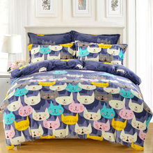 Warm Soft Fluffy Plush Flannel Fleece Lovely Colorful Cats Cartoon 4Pcs Full/Queen Size Bed Quilt/Duvet/Doona Cover Set Purple
