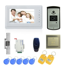 (1 set) 7 Inch Video Doorphone Door Bell Home Intercom system Color Monitor Access Control Exit button Remote Unlock RFID key