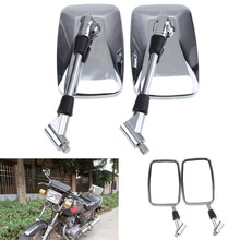1 Pair 10mm Chrome Square Motorcycle Mirror Rear View Mirror For Yamaha Honda CT110 XR250L  Cafe Racer Bike Motorcycle Mirror