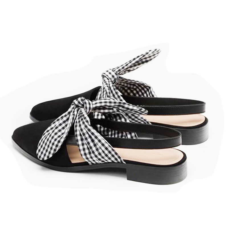 [DaiYun]2017 Summer fashion new pattern black all-match pointed toe bow deep mouth shoes women V80401<br>