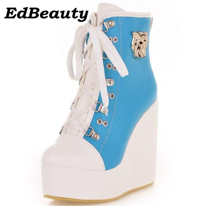 Ankle boots women flat platform shoes winter wedges mixed colors lace-up tiger head decoration big 34-43 eur<br>