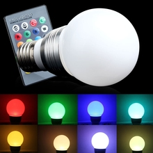 Colorful E27 High Power LED RGB 3W 16 Colors Change Lamp Light Bulb+24 key IR Remote Controller For Showroom Exhibition No UV