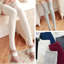 2017 spring new cotton stocking twisted knitting Thigh-Highs over the knee school stocking(China)