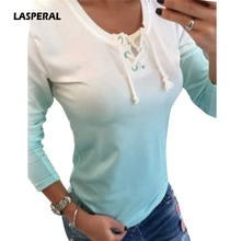 Buy LASPERAL 2018 New Fashion Women Gradient Color T-Shirt Long Sleeve O Neck Bandage Tee Shirt Autumn Winter Ladies Slim Tee Tops for $8.10 in AliExpress store