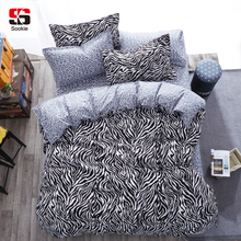Sookie 3/4pcs King Size Geometric Bedding Sets Leopard Queen Size Duvet Cover Sets Pillowcases Bed Linen Black&White Bed Clothes(China)