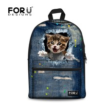 Fashion Design Travel 3D Animal Canvas Back Pack Knapsack Denim Dog Cat Printing Backpacks for Teenager Girls Casual School Bags