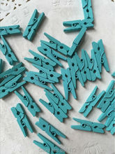 (100 units/lot) 25 mm Pale Blue Mini Wooden Clip for Wedding Decoration Party Supplies Rustic Decorative