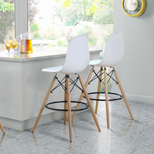 REPLICA bar chair stool PLASTIC WOODEN PLASTIC side CHAIR STOOL Commercial Furniture dinning minimalist modern dining chair 2PCS