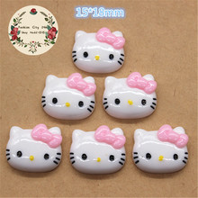 10pcs Cute Hello Kitty Resin Flatback Cabochon DIY Scrapbooking Decorative Craft Making,15*18mm
