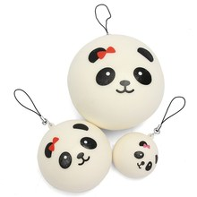 Enviromental-friendly PU Foam Charming Mobile Phone Straps Three Chubby Cute Pandas Kit Phone Bag Pendant Soft Phone Decoration