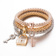 3Pc Hot Sale Fashion Personality Lock & key Shape Bracelet All-Match Glamorous Gold Silver Plated Rhinestone Alloy Pendant(China)
