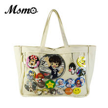Japan Ita Bag Itabag Clear Transparent Canvas Shoulder Bag Handbag Lolita Cosplayers Bag Can Badge Keychain Plush Harajuku Style(China)