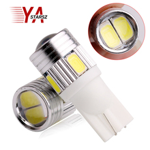 2017 New update 4 colors T10 LED 1 PCS Auto Car Light Bulb 5730 SMD 6 LED W5W 12V Interior Parking Projector Lens Free Shipping