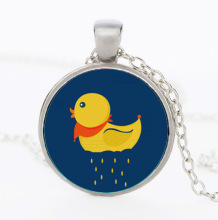 2016 Best Friend Christmas Gifts Lovely Small Yellow Duck Art Picture Pendant Necklaces Girls Necklaces Animal Glass Necklaces
