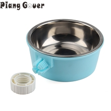 Pet Feeders Supplies Can Be Hung Fixed Cat Dog Bowls Resin Stainless Steel Water Food Bowl(China)