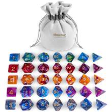 35Pcs Acrylic Dices Board Game Gaming Polyhedral Dices Table Games DND for Tile Games ( 5 Sets x 7 Pcs)(China)