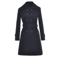Women Winter Wool Blend Long Trench Coat Solid Red Epaulet Double Breasted Belt Thick Imitation Wool Long Jacket Dress Coat
