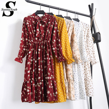 SunnyYeah 2018 New Summer Women Casual Dress Elastic Waist Pleated Floral Print Chiffon Dress Long Sleeve Vintage Vestidos Robe(China)
