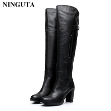 High quality genuine leather thigh high boots women for spring autumn ladies shoes designer boots
