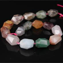 "15.5""Strands Rainbow Mixed Natural Gems Crystal Quartz Faceted Nugget Beads,Raw Aventurine Stone Cut Nugget Beads"