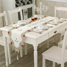 European Table Runner Embroidery Elegant Tablecloth Organza Fabric Embroidered Rustic Table Runners Wedding Decoration Cover(China)