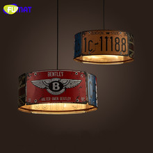 FUMAT Nordic Loft Vintage Pendant Light Industrial Restaurant Light Cafe Metal Luster Creative Number Plate Pendant Light Bar
