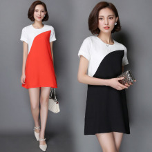 Summer Dress Women Sexy Short Sleeve Fight Color Slim Office Bussiness Dresses Fashion Casual Mini Dress L7319(China)