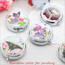 New Portable small Floral pocket metal Round Pill case for Drugs splitters Medicine box(China)