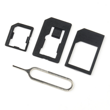3 in 1 Nano Micro Standard SIM Card Adaptor Adapter & Tools For Iphone 4 4S 5 Black(China)