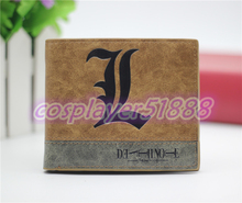 Japan anime DEATH NOTE wallet L logo cosplay billfold men&women students personality short cartoon fashion purse cool gift(China)